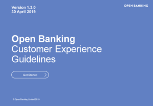The front page of OBIE's Customer Experience Guidelines document.