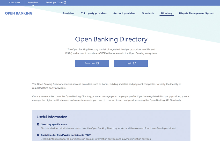 Screenshot of Directory webpage