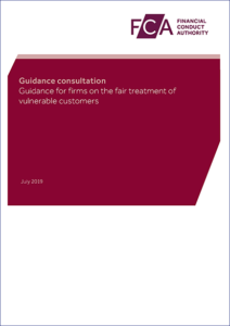 The front cover of the FCA's consultation on Vulnerable Customers