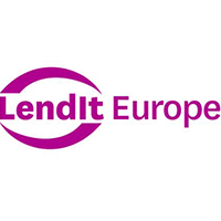 LendIt Europe's conference logo - purple text is surrounded by horizontal curves above and below.