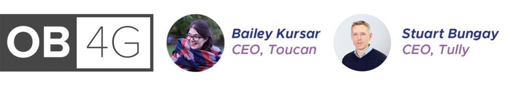 A banner including the Open Banking for Good logo, and headshots of Toucan CEO Bailey Kursar, and Tully CEO Stuart Bungay.