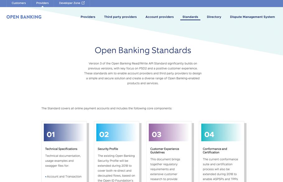 Screenshot of Standards webpage