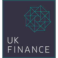 UK Finance logo - a green geometric octagon on a navy blue background.
