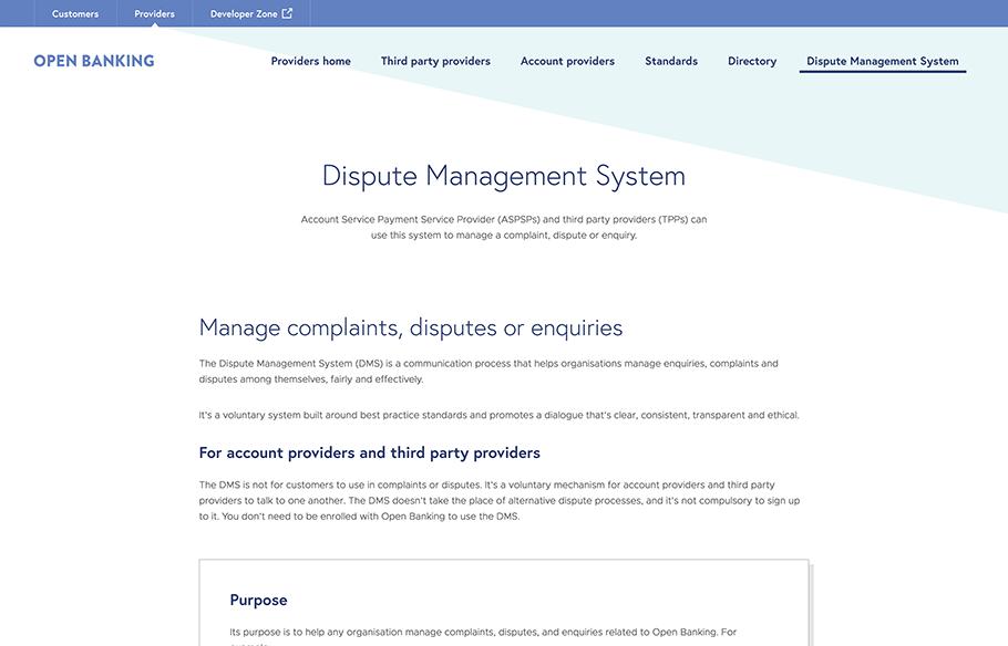 Screenshot of Dispute Management System webpage