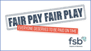 Logo of the FSB's #FairPayFairPlay campaign